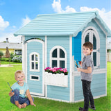 """Blue Skies"" Kids Wooden Cubby Play House"