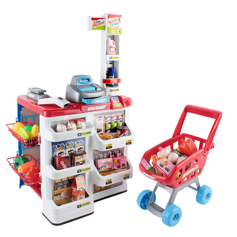 24 Piece Kids Super Market Toy Set - Red & White with Trolley