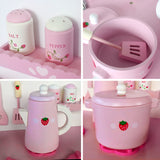 Kitchen Pretend Play Set - Pink Kettle
