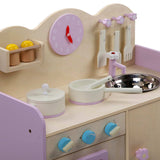 Wooden Kitchen Play Set - Natural & Pink Clock