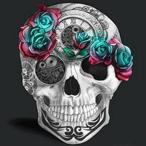 Skull And Rose Diamond Painting Kit - DIY