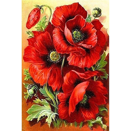 Red Flowers Diamond Painting Kit - DIY
