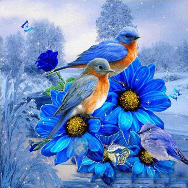 Bird on a Blue Flower Diamond Painting Kit - DIY