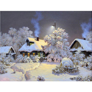 Cabin Snow Diamond Painting Kit - DIY