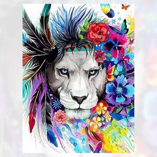Lion Flowers Diamond Painting Kit - DIY