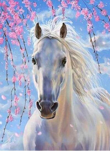 Horse White Blue Diamond Painting Kit - DIY
