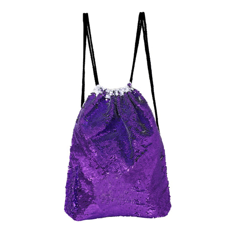 Sequin Drawstring Bag - Purple