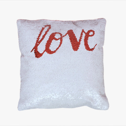 Sequin Pillow Case Square-White - Love (Red print)