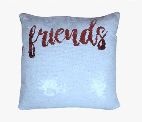 Sequin Pillow Case Square-White - Friends (Red Print)