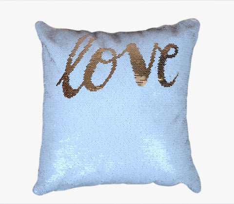 Sequin Pillow Case Square - White - Love (Gold print)