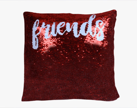 Sequin Pillow Case Square - Red - Friends