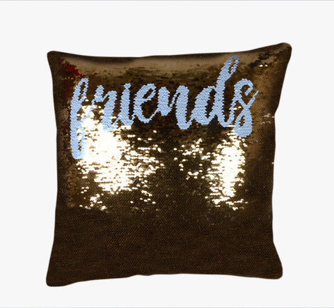 Sequin Pillow Case Square - Gold - Friends