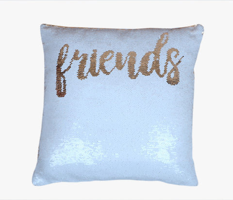 Sequin Pillow Case Square - White - Friends (Gold Print)