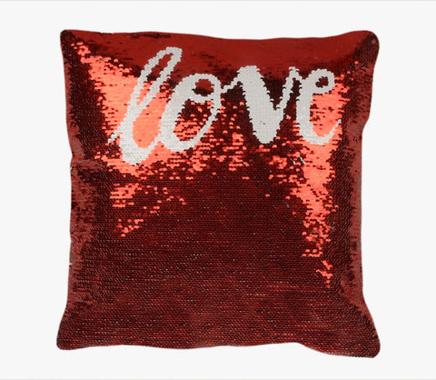 Sequin Pillow Case Square-Red - Love