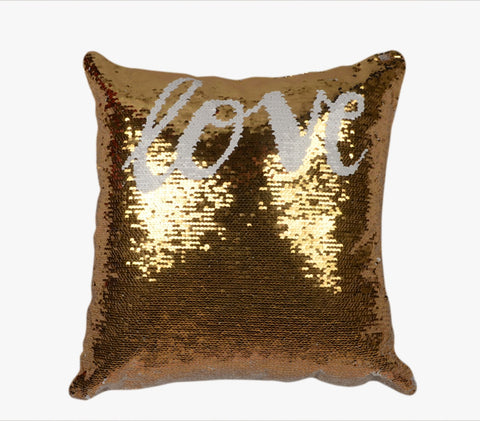 Sequin Pillow Case Square - Gold - Love