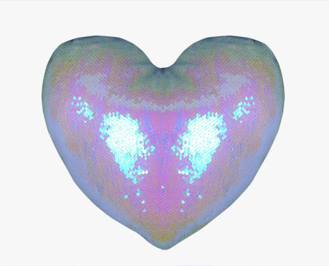 Sequin Pillow Case Heart - Mermaid