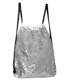 Sequin Drawstring Bag - Silver
