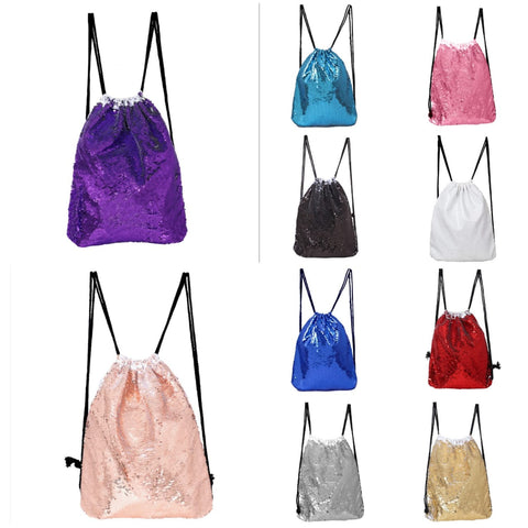 Sequin Drawstring Bag- Assorted colors