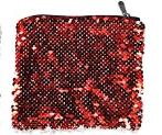 Sequin Cosmetic Pouch-Red