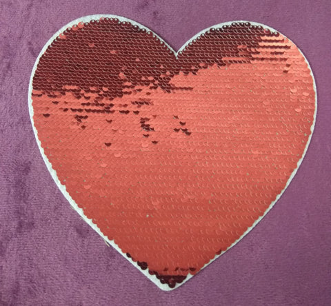 SEQUIN PATCH HEART - RED