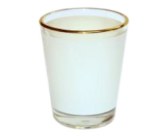 1.5oz shot glass with gold rim