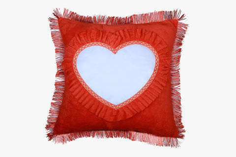 SUEDE PILLOW BRIGHT  RED SQUARE WITH HEART INLAY