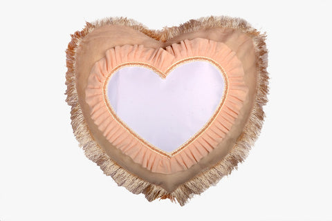 SUEDE PILLOW IVORY HEART WITH HEART INLAY