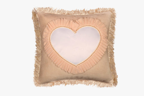 SUEDE PILLOW IVORY SQUARE WITH HEART INLAY