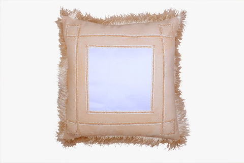 SUEDE PILLOW IVORY SQUARE WITH SQUARE INLAY