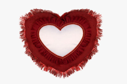 SUEDE PILLOW MAROON HEART WITH HEART INLAY