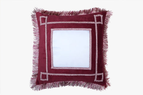 SUEDE PILLOW MAROON SQUARE WITH SQUARE INLAY