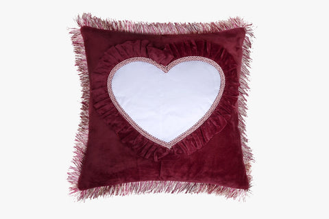 SUEDE PILLOW MAROON SQUARE WITH HEART INLAY