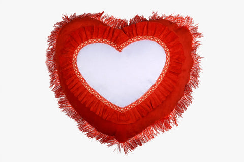 SUEDE PILLOW BRIGHT RED HEART WITH HEART INLAY