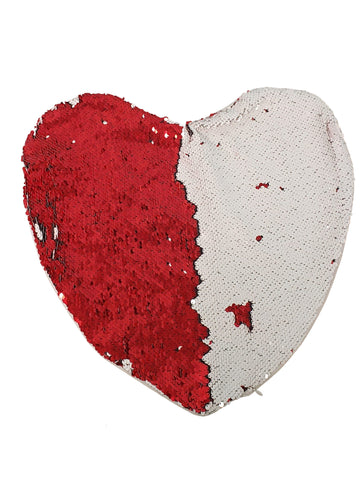 Sequin Pillow Case Heart - Red