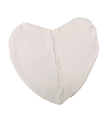 Sequin Pillow Case Heart - White