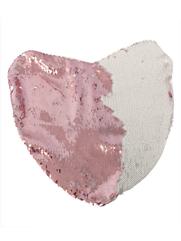 Sequin Pillow Case Heart - Pink