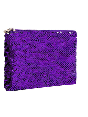 Sequin Cosmetic Pouch - Purple