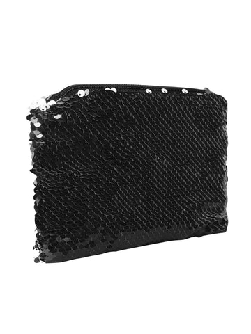 Sequin Cosmetic Pouch-Black