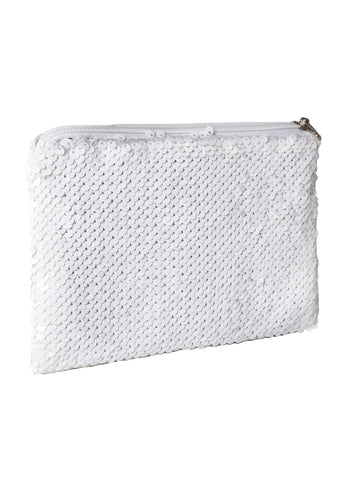 Sequin Cosmetic Pouch-White