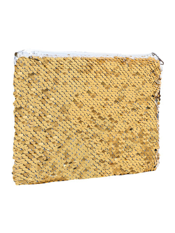 Sequin Cosmetic Pouch-Golden