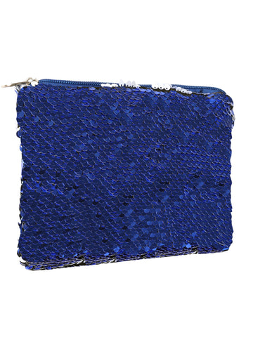 Sequin Cosmetic Pouch - Dark Blue