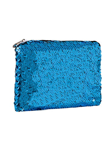 Sequin Cosmetic Pouch-Luna Blue