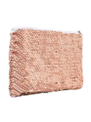 Sequin Cosmetic Pouch-Rose Gold