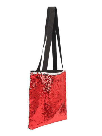 Sequin Tote Bag-Red