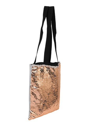 Sequin Tote Bag - Rose Gold