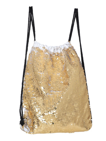 Sequin Drawstring Bag- Gold