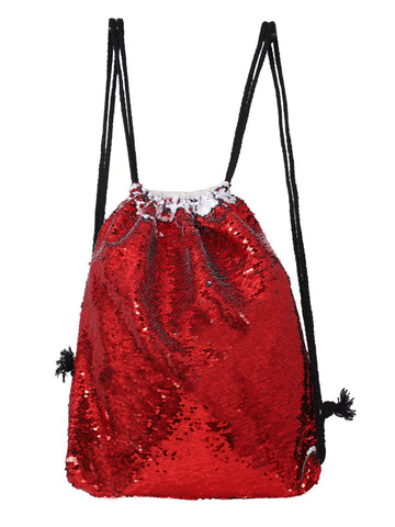 Sequin Drawstring Bag - Red