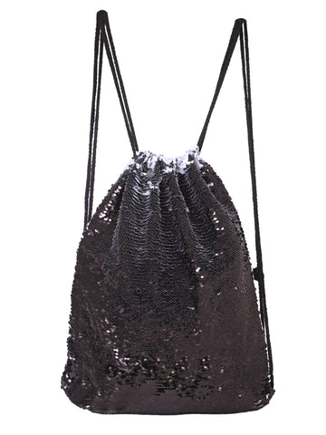 Sequin Drawstring Bag - Black