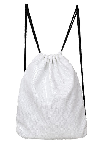 Sequin Drawstring Bag- White