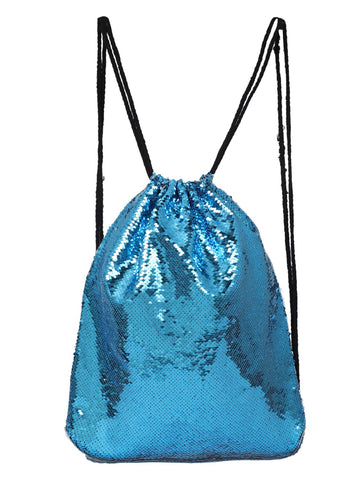 Sequin Drawstring Bag- Luna Blue
